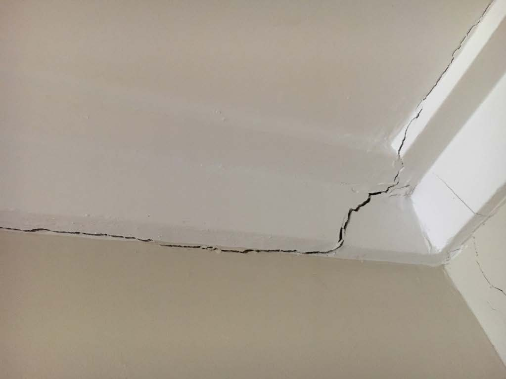 Wall cracks, significant crack
